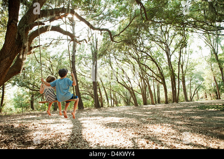 Children in tree swing together - Stockfoto