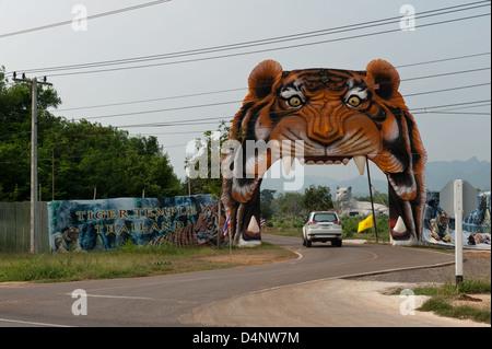 Kanchanaburi, Thailand, the entrance to the Tiger Temple - Stock Photo