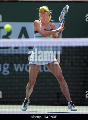 16 March, 2013: Maria Sharapova (RUS) during a finals match against Caroline Wozniacki (DEN) during the BNP Paribas - Stock Photo