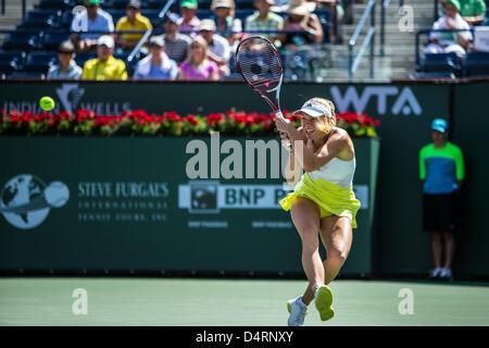 Indian Wells, CA, USA. 17 March 2013: Caroline Wozniacki (DEN) [8] loses in the finals to Maria Sharapova (RUS) - Stock Photo