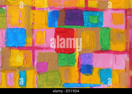 Colorful acrylic painting color brush strokes on canvas - Stock Photo