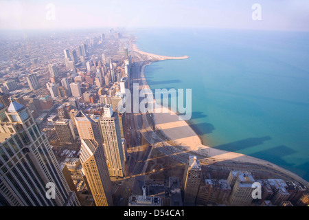 Chicago highrises photographed from the 94th floor of the John Hancock Building - Stockfoto