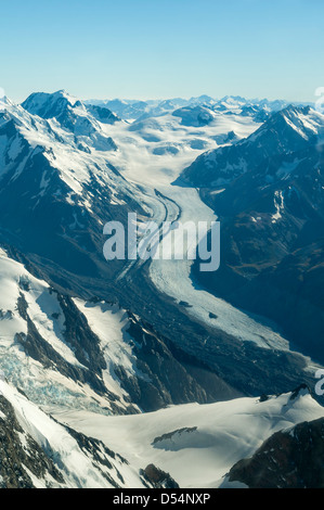 Aerial of Tasman Glacier, Southern Alps, Westland, New Zealand - Stock Photo