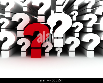 Single red question mark standing out - Stock Photo