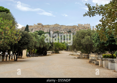 Athens. Agora or marketplace. The Acropolis is in the ...
