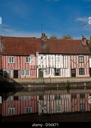 Medieval Half Timbered Houses beside the River Colne in Colchester, Essex, England - Stock Photo