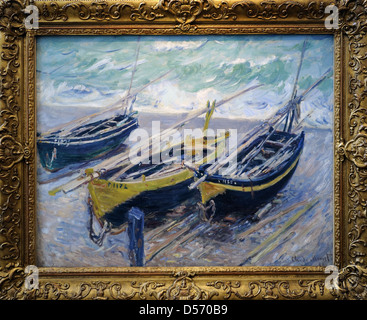 Claude Monet (1840-1926). French painter. Three Fishing Boats, 1886. Oil on canvas. Museum of Fine Arts. Budapest. - Stock Photo
