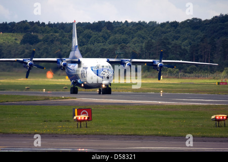 Gromov Air (Irkut-Avia) Antonov An-12 on runway at Farnborough International Airshow 2012 - Stock Photo