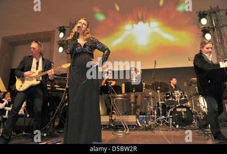pregnant moderator and singer barbara schoeneberger arrives at the stock photo 54965541 alamy. Black Bedroom Furniture Sets. Home Design Ideas