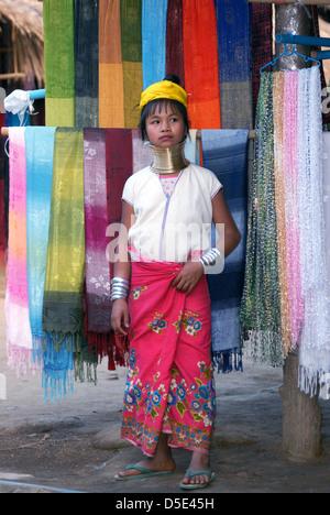 Young girl long neck Karen hill tribe tathon village Chiang mai Northern Thailand - Stock Photo