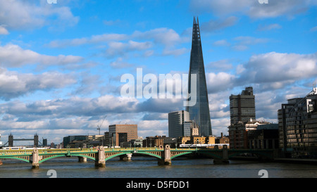 A view of the Shard building at London Bridge and the River Thames South London England UK  KATHY DEWITT - Stock Photo