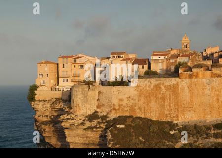France, Corsica, Bonifacio, cliffside houses, dawn - Stock Photo