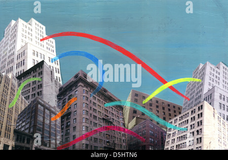 Illustration of buildings with colorful lights connecting each other representing social networking - Stock Photo
