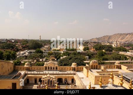Long view of Jantar Mantar Jaipur Rajasthan india - Stock Photo