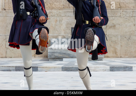 The legs of marching Evzones in Athens, Greece - Stockfoto
