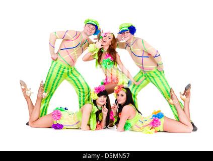dancer team wearing a folk ukrainian costumes - Stock Photo