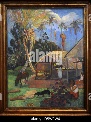 Paul Gauguin (1848-1903). French painter. Black Pigs, 1891. Oil on Canvas, 1st Tahiti Period. Museum of Fine Arts. - Stock Photo