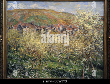 Claude Monet (1840-1926). Plum Trees in Blossom at Vetheuil, 1879. Oil on canvas. Museum of Fine Arts. Budapest. - Stock Photo
