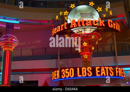 The Heart Attack Grill on Fremont Street in downtown Las Vegas - Stock Photo