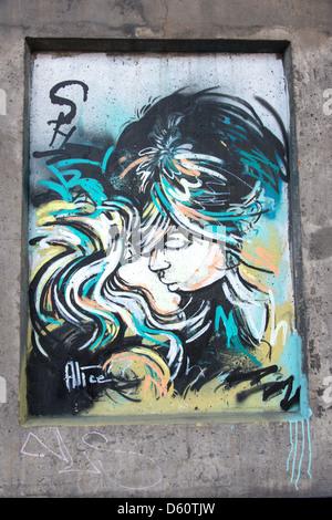 Street art by C215 alice - Stock Photo