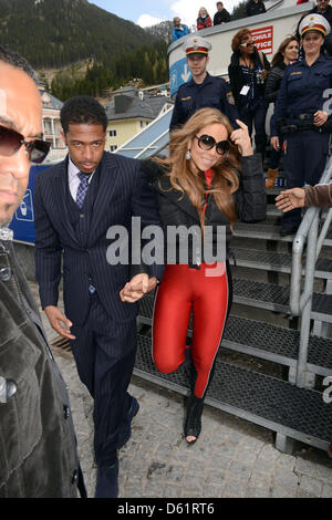 American singer Mariah Carey and husband Nick Cannon descend from a furnicular after an open air concert in Ischgl, - Stock Photo