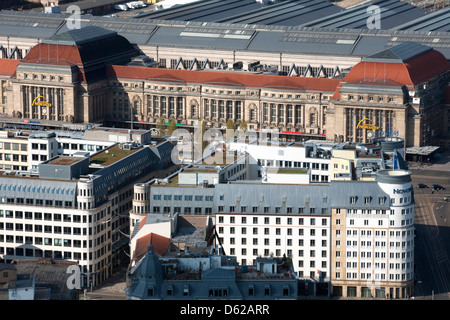 Rooftop view of Leipzig Central Station one of Europe's largest. - Stock Photo