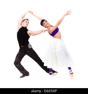 Full length of young ballet couple dancing - Stock Photo