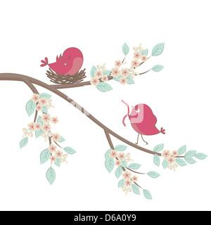 Birds family in love. Vector. - Stock Photo