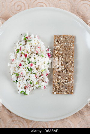 Fresh cheese salad with radish and herbs, crispb read on side - Stock Photo