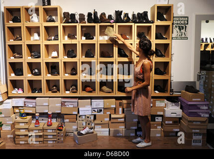 animal friendly shoes are on offer at a vegan shoe store in berlin stock photo 55570698 alamy. Black Bedroom Furniture Sets. Home Design Ideas