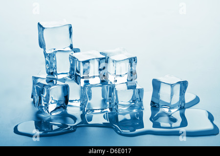 stack of melting ice cubes - Stock Photo