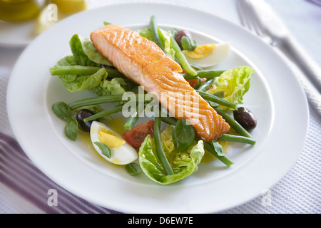 Fillet of salmon fried in olive oil, then served on a bed of Nicoise with vinaigrette - Stock Photo