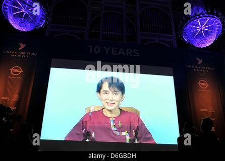 Nobel peace prize winner Aung San Suu Kyi is seen on a screen during the charity event Cinema for Peace within the - Stock Photo