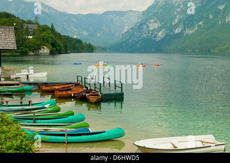 Boats on Lake Bohinj, Slovenia - Stock Photo