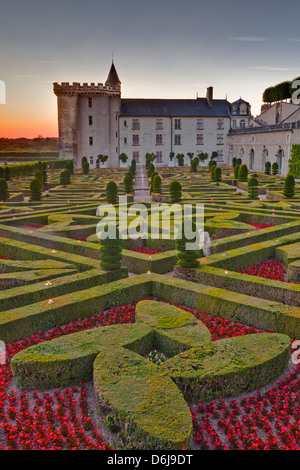 The Chateau of Villandry at sunset, UNESCO World Heritage Site, Indre-et-Loire, Loire Valley, France, Europe - Stock Photo