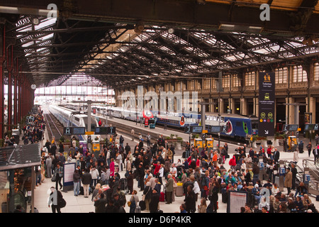 Crowds of people in the Gare de Lyon, Paris, France, Europe - Stock Photo