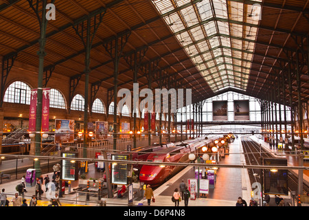 A busy Gare du Nord station in Paris, France, Europe - Stock Photo