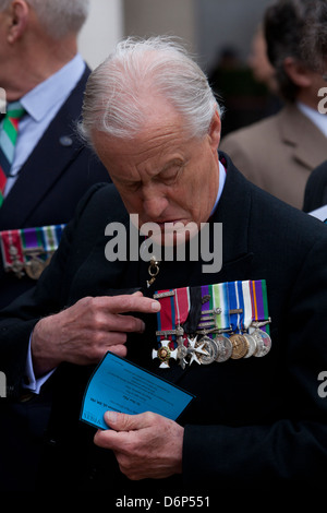 Lieutenant-General Sir Hew William Royston Pike KCB, DSO, MBE  with medals at the funeral of Margaret Thatcher in - Stock Photo