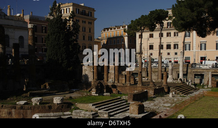 Italy. Rome. Sacred area of Largo di Torre Argentina. Temple A devoted to Jutuna. First, the Temple B. - Stock Photo