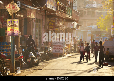 Indian children on the street of Jodhpur, Rajasthan State, India - Stock Photo