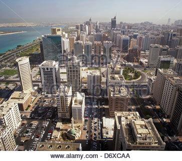 Aerial view of Abu Dhabi, United Arab Emirates - Stock Photo