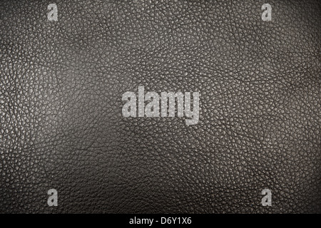 Black genuine natural leather (skin) texture (background) - Stock Photo