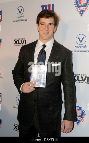 Eli Manning Super Bowl XLVI Champions: New York Giants 'Blue Carpet' VIP Premiere at the Regal E-Walk Stadium New - Stock Photo