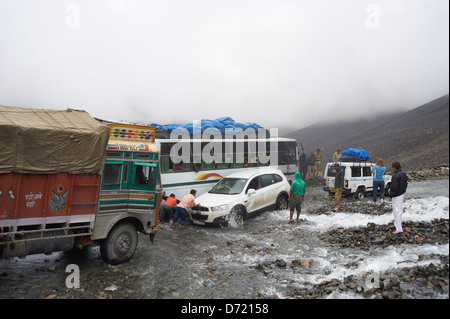 Roadblock on the 'Trans Himalayan Highway' - Stock Photo