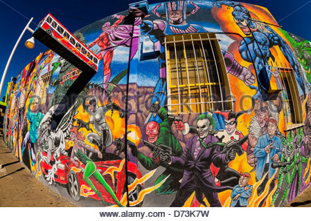 Mural on route 66 albuquerque stock photo royalty free for Comic book mural
