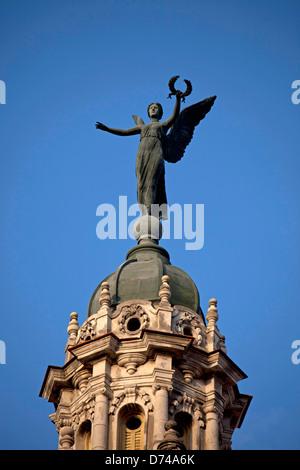 tower and statue of the theatre Gran Teatro de La Habana in Havana, Cuba, Caribbean - Stock Photo