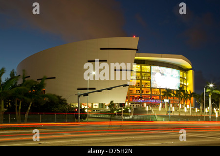 American Airlines Arena and light streaks, Miami, Florida USA - Stock Photo