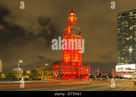 Freedom Tower and light streaks, Miami, Florida USA - Stock Photo