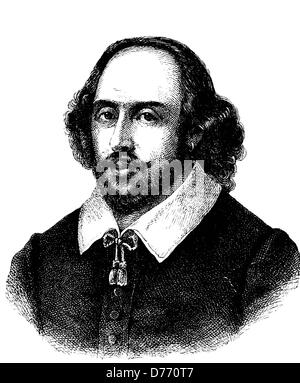 William Shakespeare, 1564 - 1616, English dramatist and poet, historical woodcut, 1880 - Stock Photo