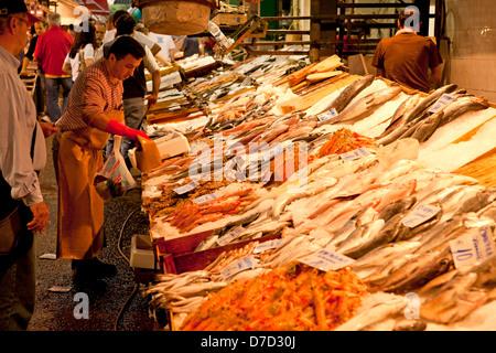 fresh fish on the market in Thessaloniki, Macedonia, Greece - Stock Photo